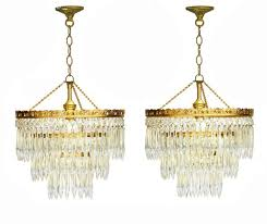 vintage spanish cut glass and brass chandeliers 1950s set of 2 for at pamono