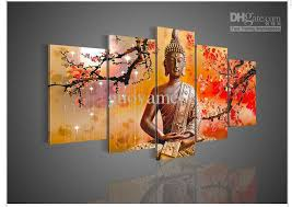 Small Picture 5 Panel Wall Art Religion Buddha Oil Painting On Canvas Picture