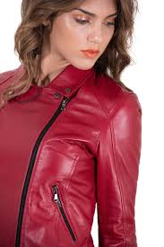 italian leather jacket for women biker model red 2