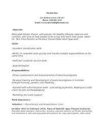 Trainer Resume Fitness Instructor Resume Examples Personal Trainer