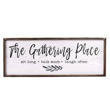 99 5% coupon applied at checkout save 5% with coupon Teresa S Collections Gather Sign Large Farmhouse Kitchen Wall Sign Wooden Family Sign Rustic Wall Art Decor Sign For Dining Room Home Decor The Gathering Place 32 X 12 Inch Buy Online