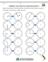 Telling Time Clock Worksheets to 5 minutesclock worksheets correct the time to 5 minutes 2