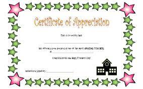 Teacher Appreciation Certificate Gift Template Best Printable Award