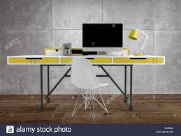 front office desks. Front View Of Thin Office Desk With Yellow Drawers And Lamp, Computer Chair, On Wooden Floor, Against Grey Background Desks