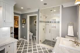 bathroom shower tile ideas traditional. Gray Bathroom With Blue Accents Traditional Tile Floor White Cabinets Walk-in Shower Ideas R