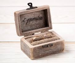 ring bearer box wedding ring box rustic wedding ring holder pillow bearer box with hearts wooden engagement ring box burlap and lace