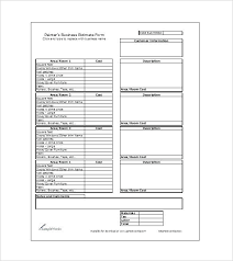 Sample Estimate Forms For Contractors Sample Estimate Templates Doc Excel Free Premium Estimate