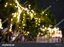 Easy Way Hang Christmas Lights Outdoor Blur Bokeh Decorative Outdoor String Lights Stock Photo