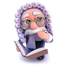 3d funny cartoon judge reading a legal book stock ilration ilration of judgement