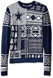 Neck Double Extra Dallas Ugly Cowboys Large Patches Crew Sweater