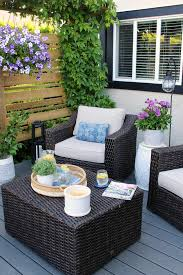 resin wicker patio furniture on a summer patio