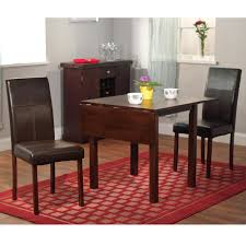 Furniture 3 Piece Drop Leaf Table Leather Chairs Compact Dining Sets