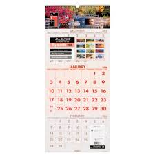 At A Glance 3 Month Calendar At A Glance 3 Month Wall Calendar 2016 14 Months Recycled Scenic