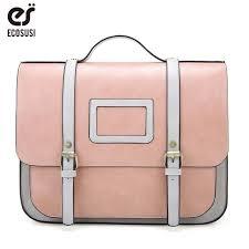 ecosusi new women pu leather shoulder bag retro handbag women 13 inch laptop messenger bags vintage briefcase for work leather handbag red handbags from