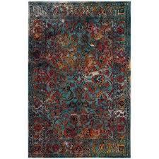 crystal light blue orange 4 ft x 6 ft area rug