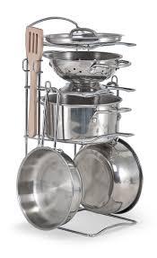 Melissa And Doug Retro Kitchen Amazoncom Melissa Doug Stainless Steel Pots And Pans Pretend