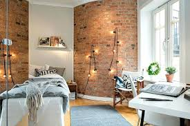 Interior Brick Wall Ideas Brick Wall String Lights Interior Faux Brick Wall  Ideas . Interior Brick Wall ...