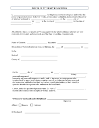 blank power of attorney printable revoke power of attorney form legal pleading template