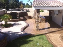 Complete Outdoor Kitchen Spa Waterfall Outdoor Kitchen Stamped Concrete Pavers Patio