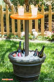 small table with an ice pail base