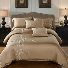4pcs 100 cotton 60s sateen fabric camel color duvet cover set with bamboo embroidery bedding