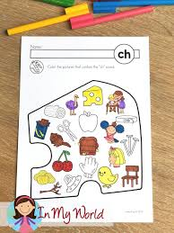Color the pictures and then glue or staple the cut out pages to the main page. Free Ch Digraph Printable Activities Worksheets In My World