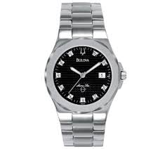 bulova men s 10 diamond bracelet watch w calendar function qvc com bulova men s 10 diamond bracelet watch