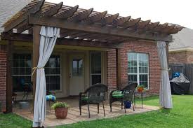 outdoor pergola curtains indoor outdoor curtains for front home with wooden frame and patio furniture simple and stylish