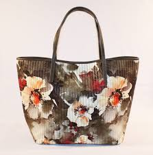 Tan Quilted Floral Tote Bag | Lucy's Gift & Tan Quilted Floral Tote Front Adamdwight.com