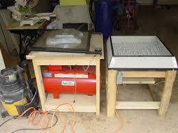 here is my vac table rig note the vac and the air tank not used look how much space this thing covers it would be nice to set the rig on a