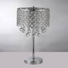 chrome round crystal chandelier bedroom nightstand table lamp 3 light fixture