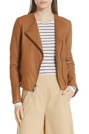 image of vince zip cross front leather jacket