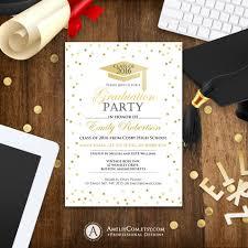 Graduation Announcements College Template Graduation Invitation Template Printable Gold Confetti Girl