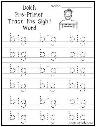 Pre Primer Dolch Pre K Sight Words Pdf Primer Trace The Word Printable Worksheets In