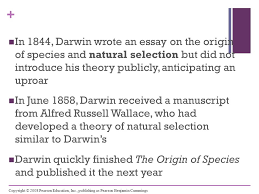chapter descent modification ppt video online  in 1844 darwin wrote an essay on the origin of species and natural selection but