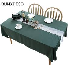 dunxdeco tablecloth table cover party wedding decorative fabric green velvet white border lace decoration modern european decor tablecloths