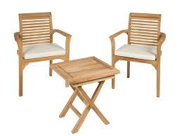 Conjunto mesa y 2 sillas de madera para terraza