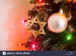 Christmas Lights Star Of David Jewish Star Of David On Christmas Tree Stock Photo 92819471