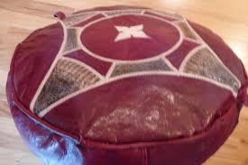 moroccan leather pouf ottoman deep burdy