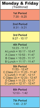 Monday To Friday Schedule Bell Schedule Monday And Friday Bell Schedule
