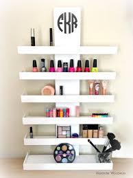 Wall Mounted Makeup Shelf - Makeup Organizer - Nail Polish Holder - Make up  shelf - Monogramed Makeup Organizer - Hanging makeup shelf