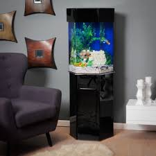 Black Corner Shape Fish Tank On The Cream Floor Can Be Decor With Grey Wall  Add