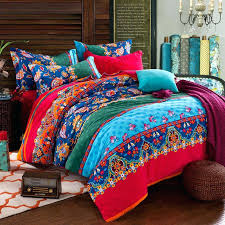 red and aqua bedding red aqua and navy blue folklore pattern multi color style exotic tribal print brushed cotton full queen size bedding sets