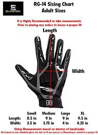 Youth Glove Size Chart Football Elitetek Rg 14 Football Gloves Youth And Adult Buy Online