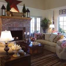 Image Brick Fireplace White Country Living Room With Red Brick Fireplace Photos Hgtv Photos Hgtv