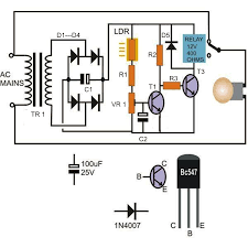 how to make a light activated day night switch circuit science the transistors are rigged as inverters meaning when t1 switches t2 is switched off and vice versa