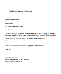 Certification Of Employment Sample Letter My College Scout