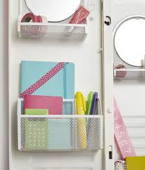 our white mesh magnetic vanity bin and white mesh magnetic organizer bin blend in with the locker decor making their school essentials easy to see and