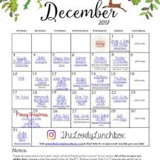 November Meal Calendar - The Lovely Lunchbox
