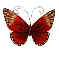 on red and brown metal wall art with red and brown tones butterfly wildlife metal wall art